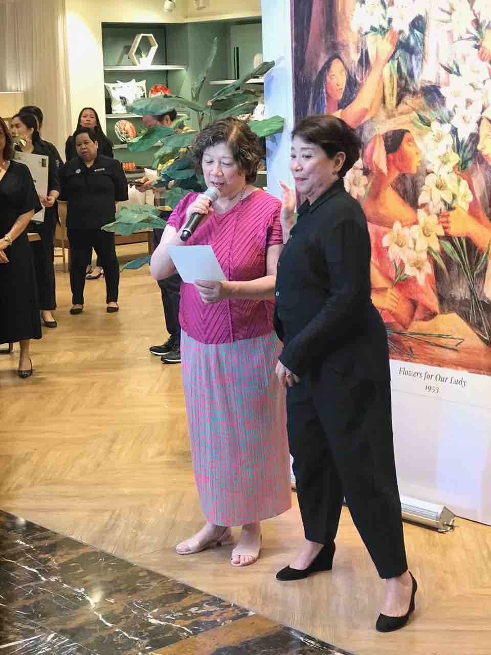 Daughters of Anita Magsaysay-Ho, Helen and Doris, at the launch of Offerings in Rustan's Makati.