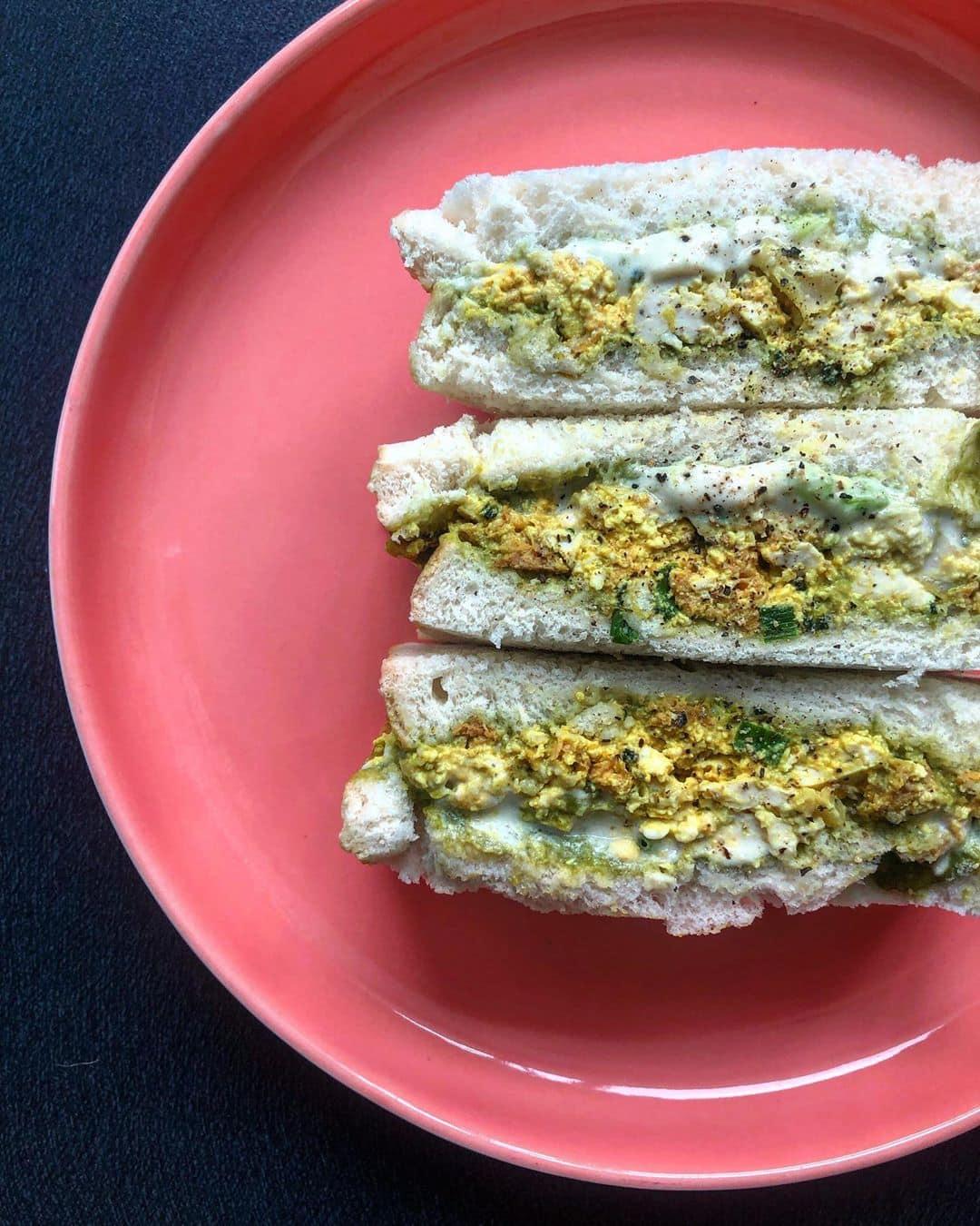 Plant-based egg salad sandwich