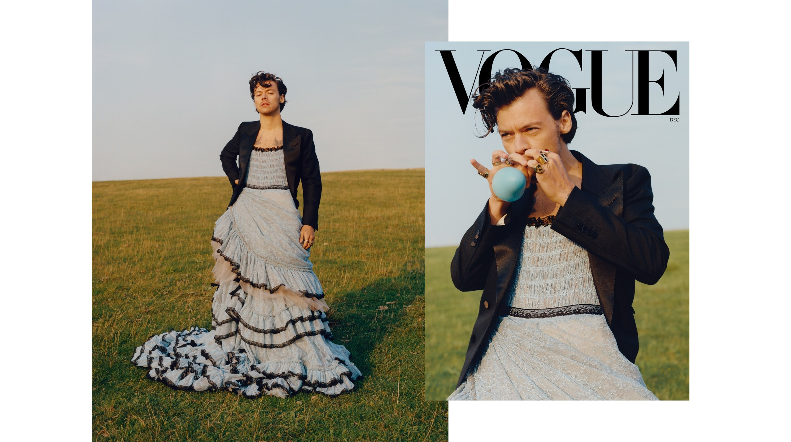 harry styles is the first ever man to be on the cover of u s vogue and he wears a dress metro style harry styles is the first ever man to