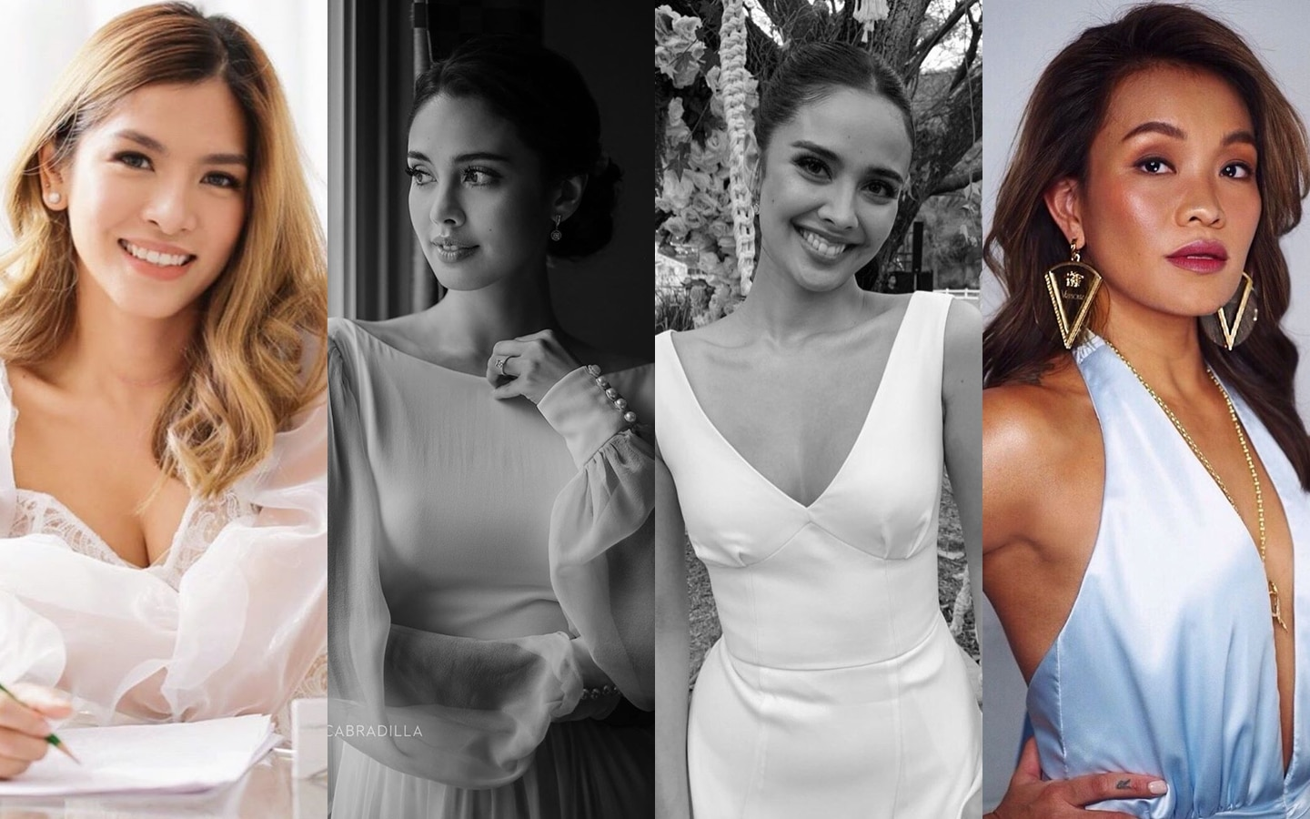 (From left) Fashion designer Patricia Santos, Megan Young in her wedding ceremony gown by Patricia Santos, Megan in her reception dress by Boom Sason, and fashion designer Boom Sason