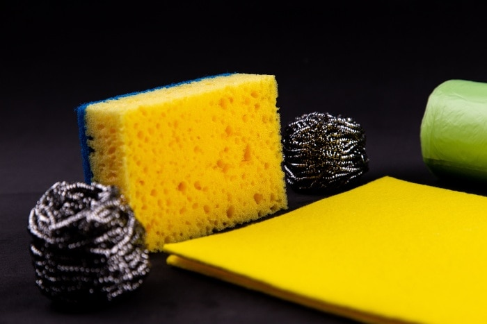Clean your dish washing sponges with a solution of  9 parts water to one part bleach