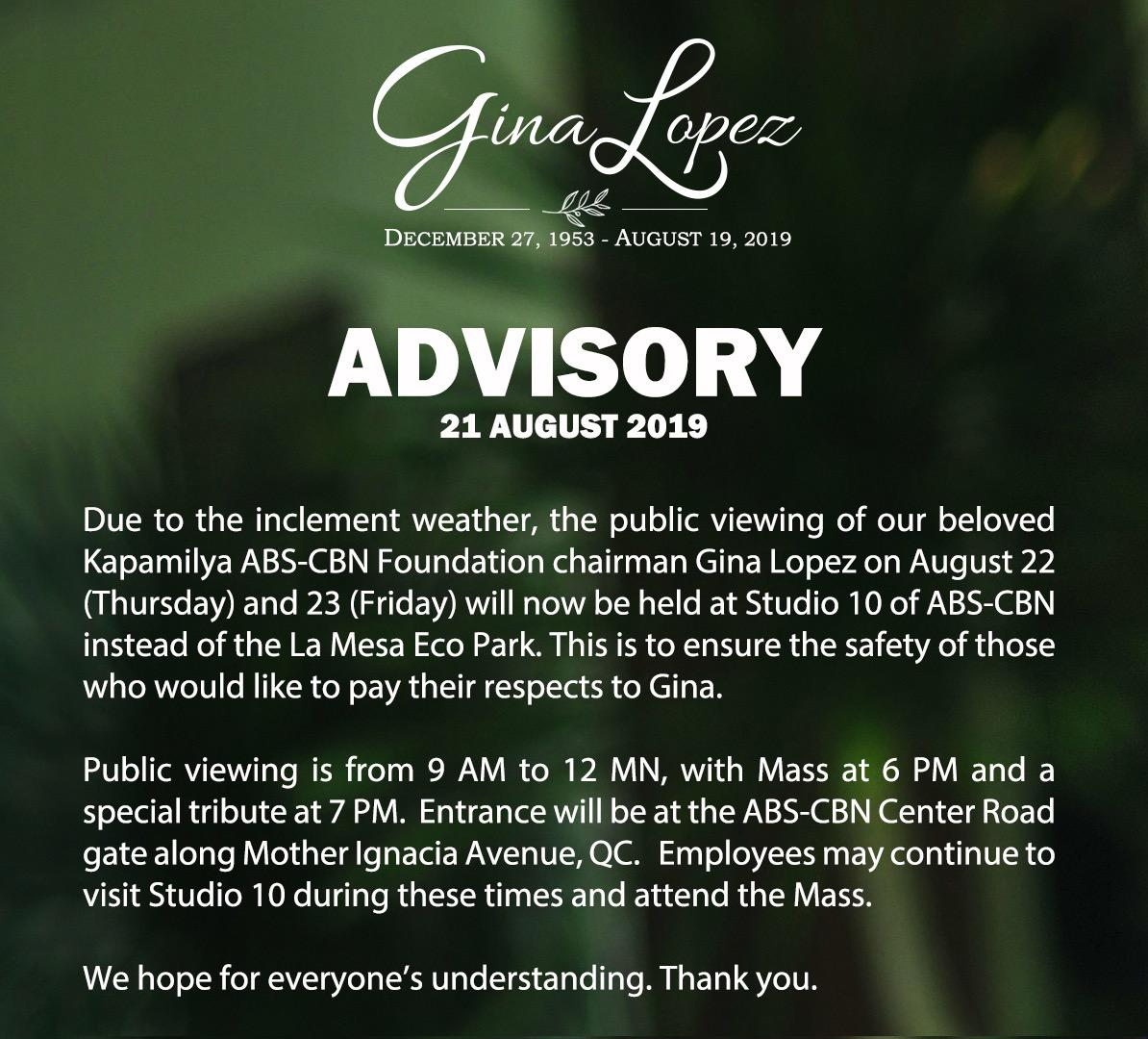 there will be a memorial service for the late gina 0