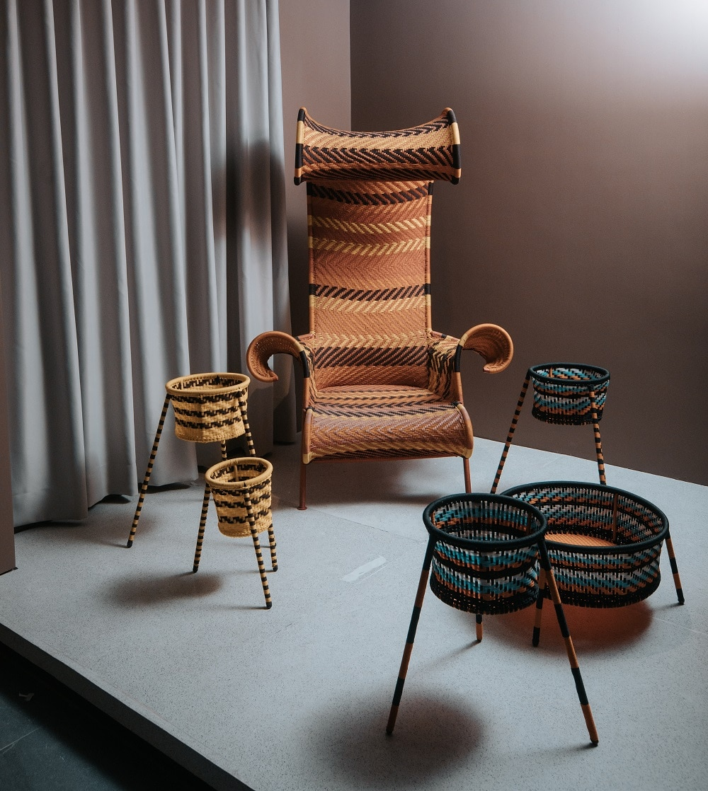 From Moroso, The Sunny chair by Toord Boontje and Jardin Suspendu accessories by Concetta Giannangeli.