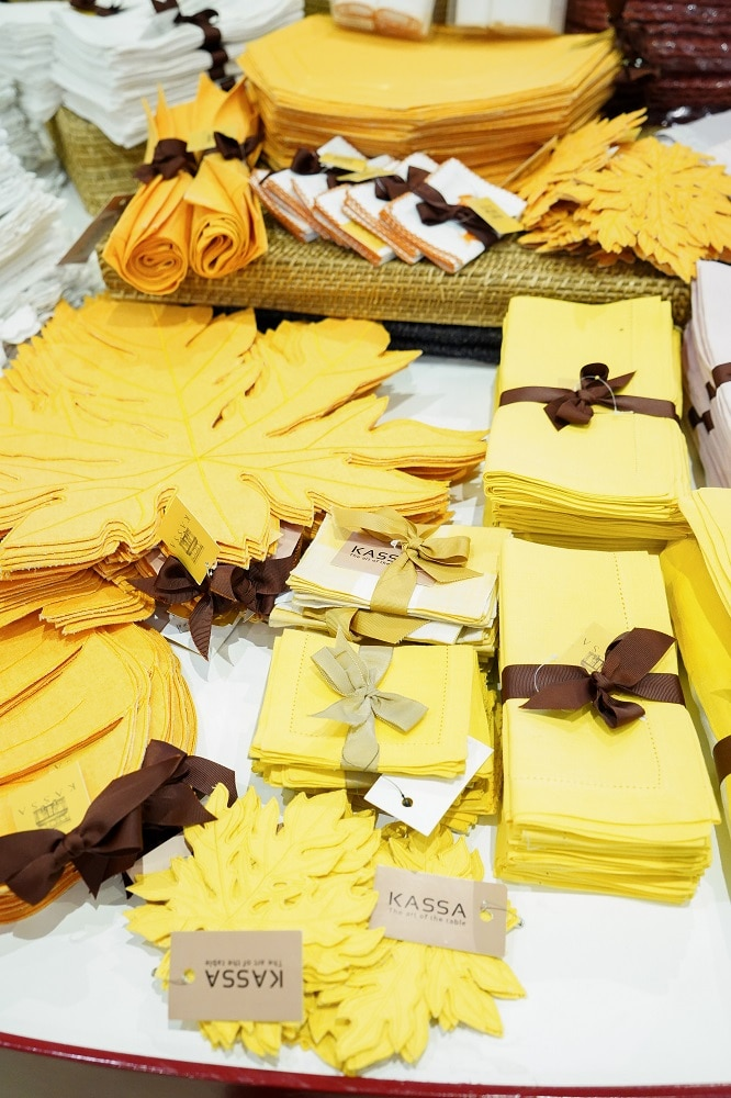 Pretty table linens from Kassa by Karen Santos
