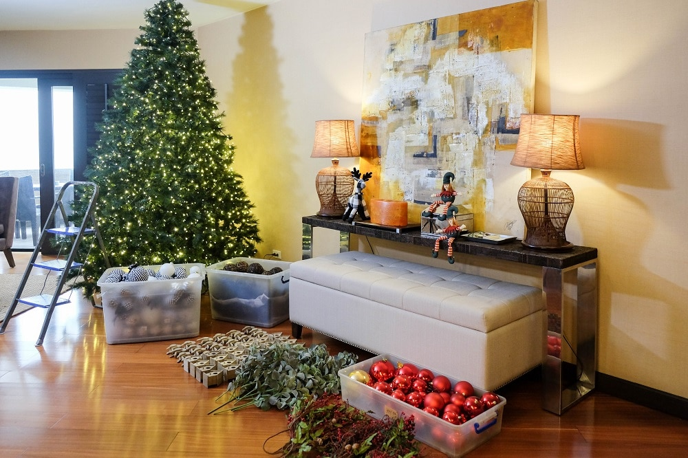 Anton stresses the importance of organizing your ornaments before getting started.