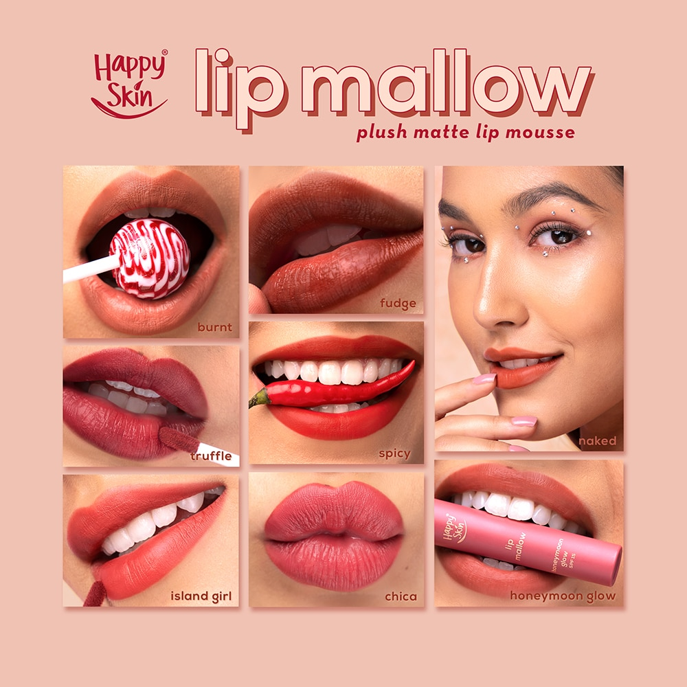 The Happy Skin Lip Mallow line allows you to play with a ton of luscious lip shades minus the sticky feeling.