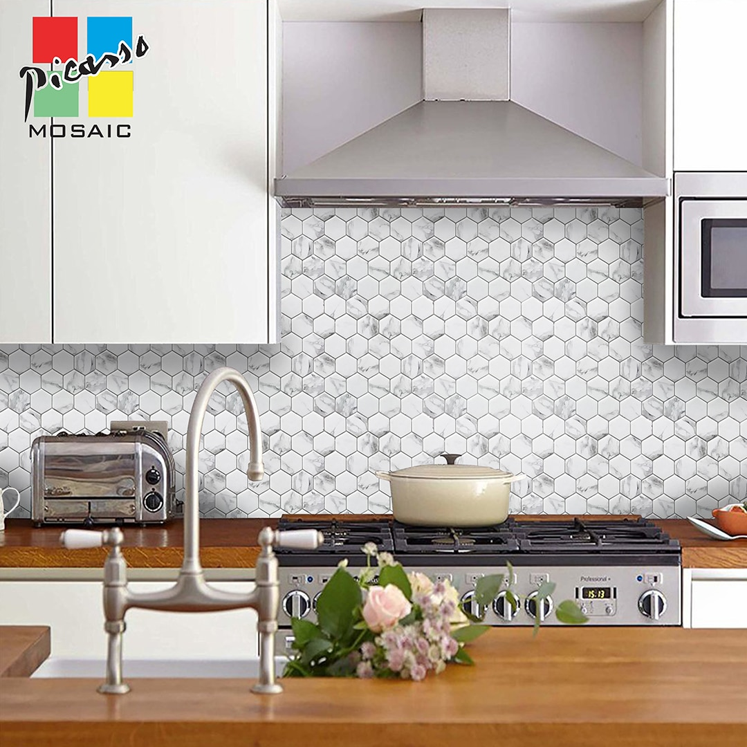 Kitchen backsplash with a marble look by Picasso Mosaic, available in Wilcon Depot.