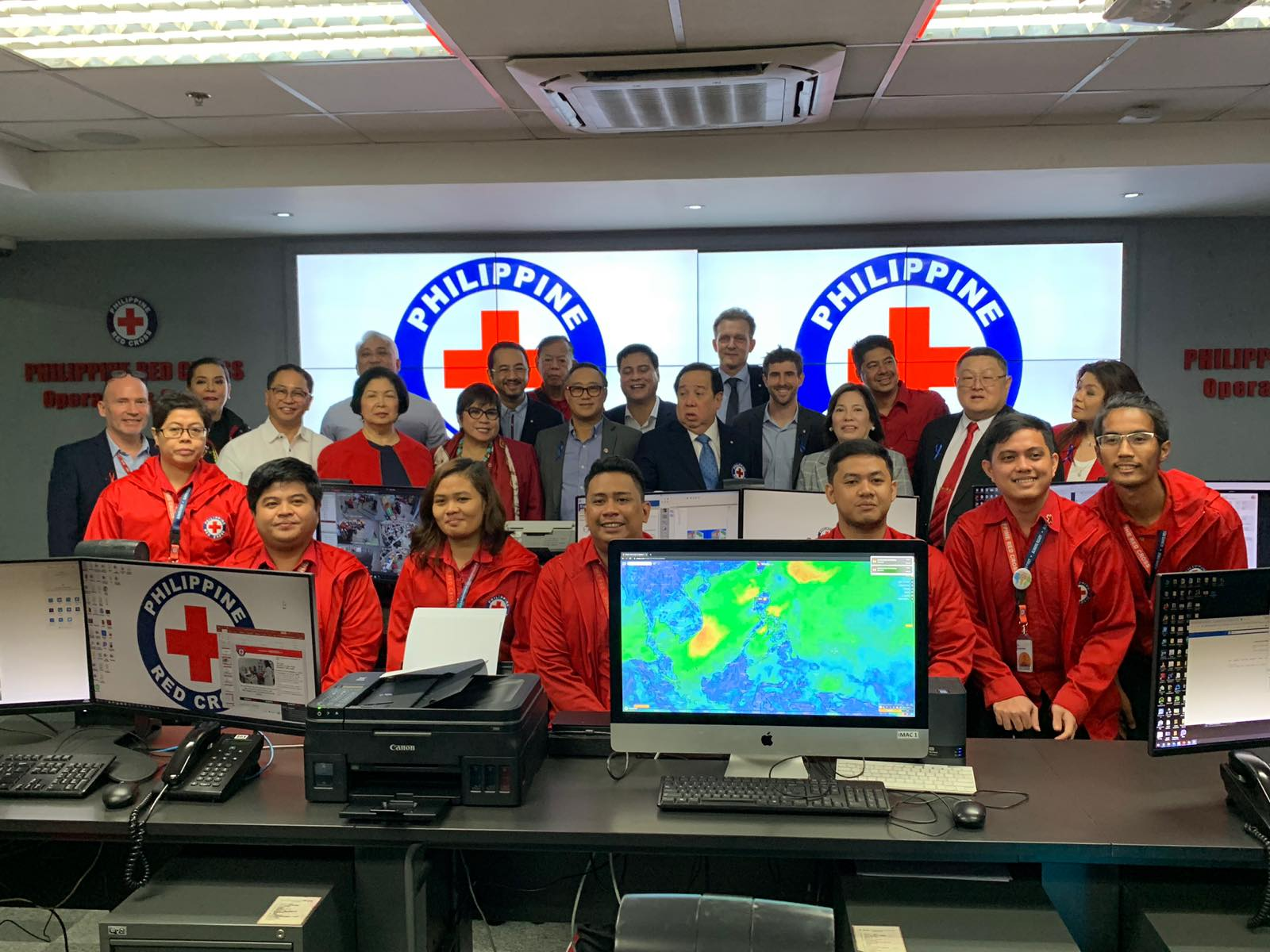 Philippine Red Cross Chairman and CEO Senator Richard Gordon asked the Red Cross volunteers to go in front to be acknowledged for their contribution to the organization's mission.