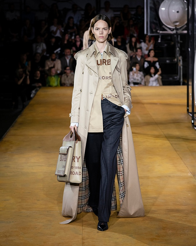 A maxi version of the classic trench, with iconic check inner detailing, at Burberry S/S 2020