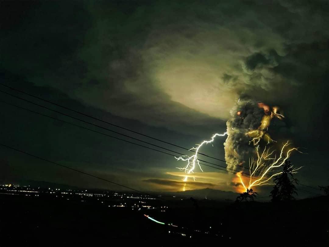 The Taal Volcano eruption as seen from Nasugbu, Batangas